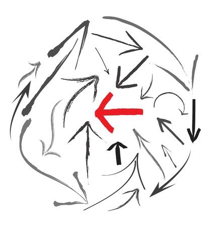 right arrow: Grunge arrows set Illustration