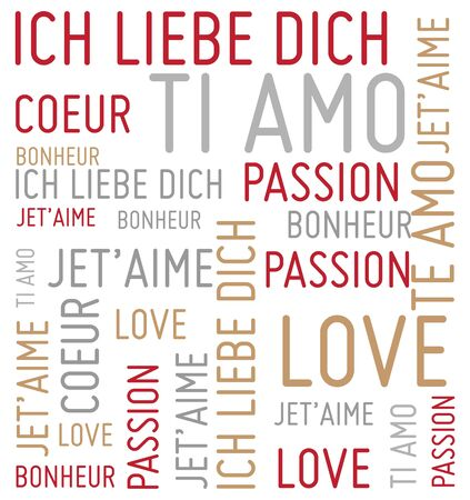 carta de amor: palabras de amor de fondo vector