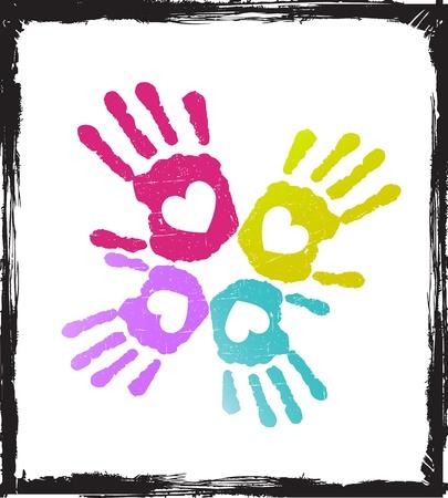 hand schilderen: Abstract kleurrijke minnaar handen