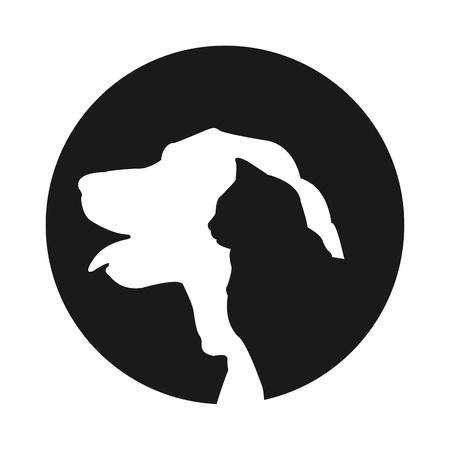 medizin logo: Tierpflege Veterin�r, Katze und Hund Illustration