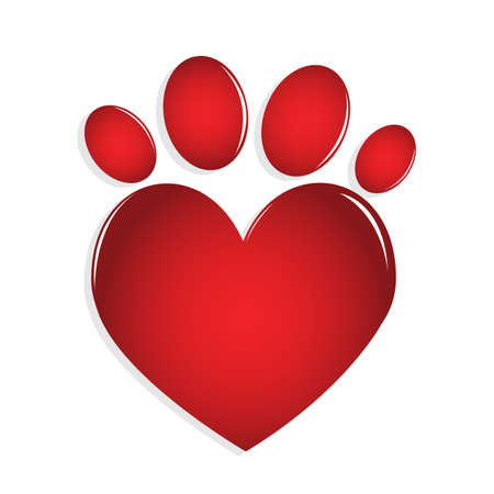 valentines dog: Love paw print Illustration