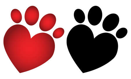 Love paw prints Vector