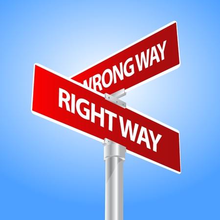 right of way: Right way, Wrong way Illustration