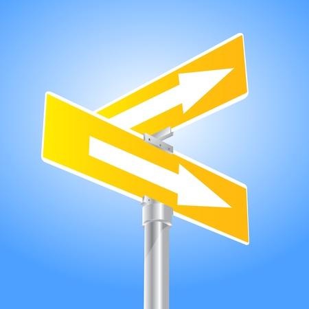Yellow Crossroad Arrows Sign Stock Vector - 13470504