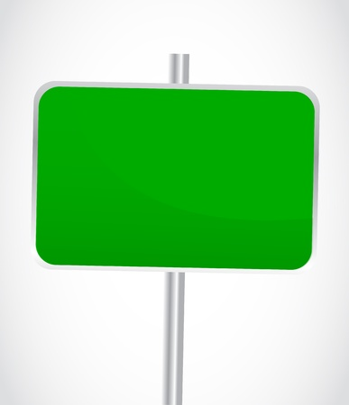 Blank Green Road Sign Stock Vector - 13475736