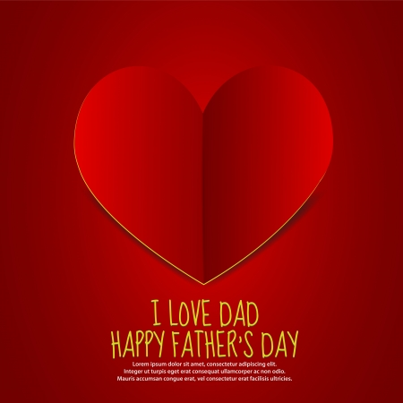 Love Dad Paper Heart Vector