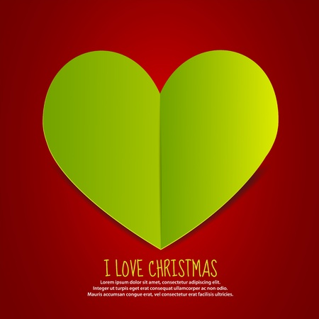 Love Christmas Paper Heart Vector