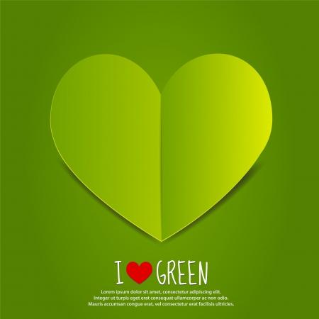 paper heart: Green Paper Heart