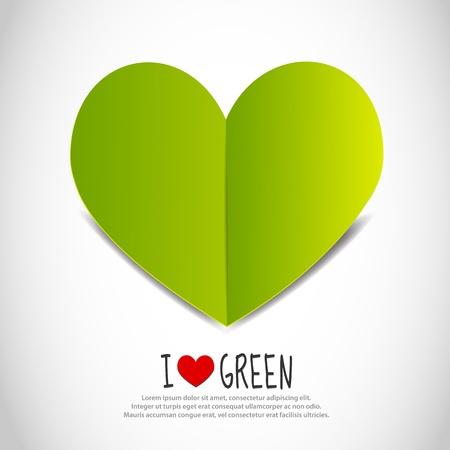 Love Green Paper Heart Vector