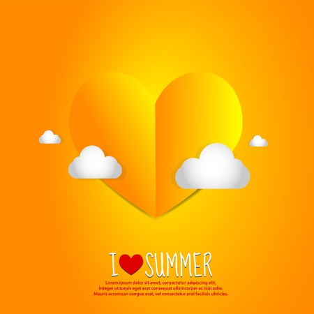 Love Summer Paper Heart Vector