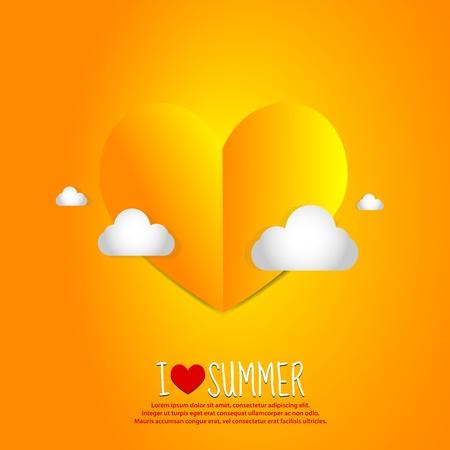 Love Summer Paper Heart Vector