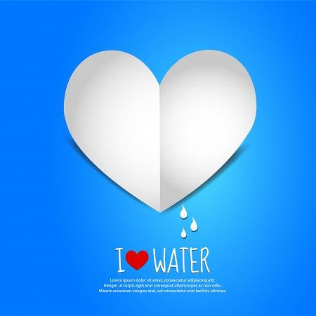 corazones azules: Agua Amor Paper Heart