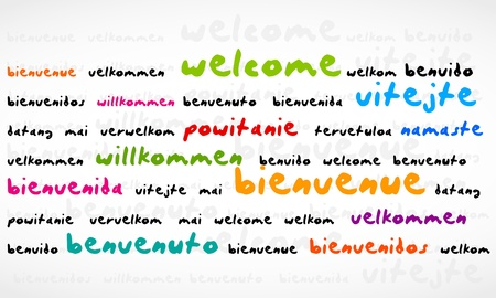 Welcome, Bienvenue, Willkommen Word Cloud Vector
