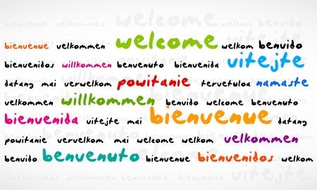 willkommen: Welcome, Bienvenue, Willkommen Word Cloud