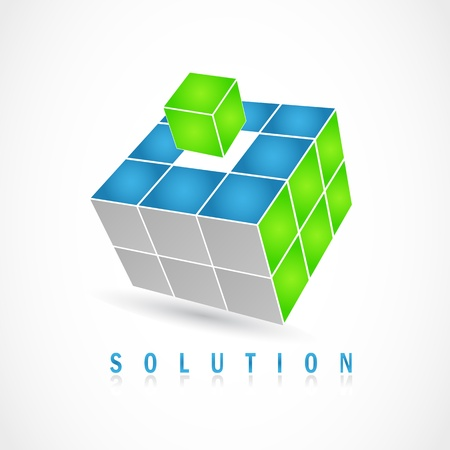 solutions: Cube puzzle in vector with 3d effect