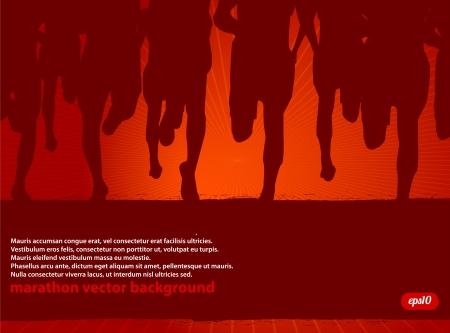 outdoor fitness: Marathon Runners Illustration