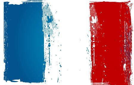 bandera francia: Grunge Bandera Francia Vectores