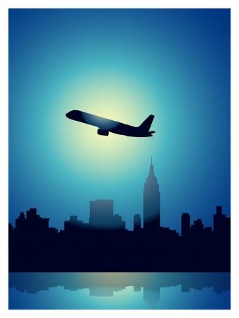 new york night: Manhattan at night Illustration
