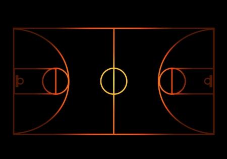 canestro basket: Campo da pallacanestro fiammeggiante