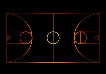 flaming Basketball court Vector