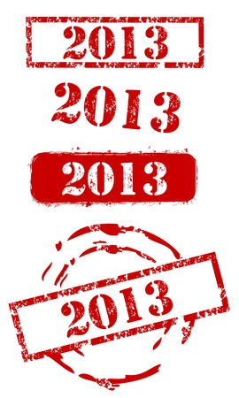 2013 New Year Stamp Set Vector