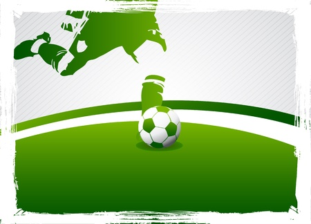 man in field: grunge green soccer poster Illustration
