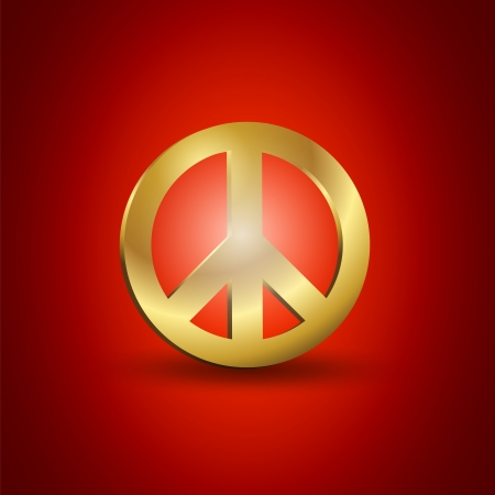 Golden Peace Symbol Vector