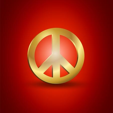 Golden Peace Symbol Vector