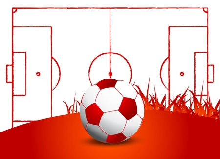 soccer ball grass field Vector