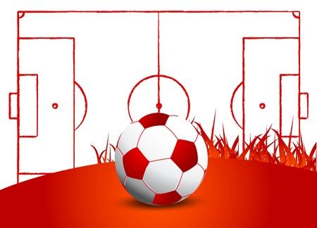 soccer ball grass field Stock Vector - 15219515