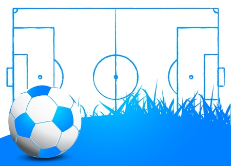 Soccer field with ball Vector