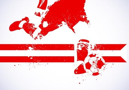 bannière football: Affiche Ballon Grunge Illustration