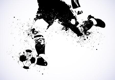 banni�re football: Grunge Soccer Affiche Illustration