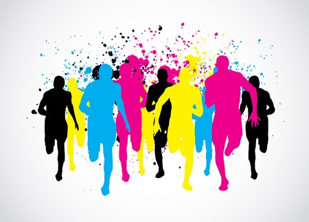 cmyk abstract: CMYK Marathon Runners