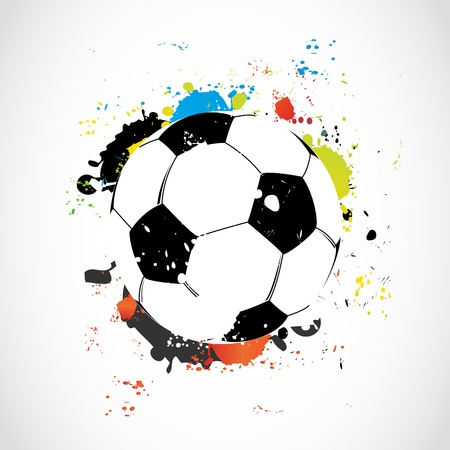 dirty football: Abstract colorful grunge soccer ball Illustration