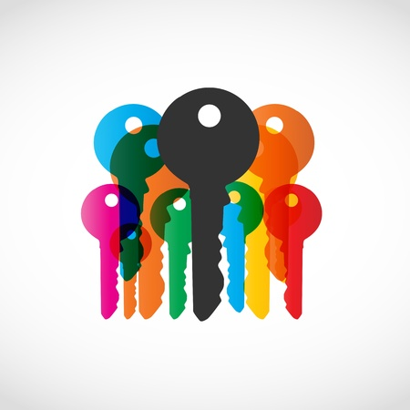 accomplish: Colorful Key Symbol Illustration