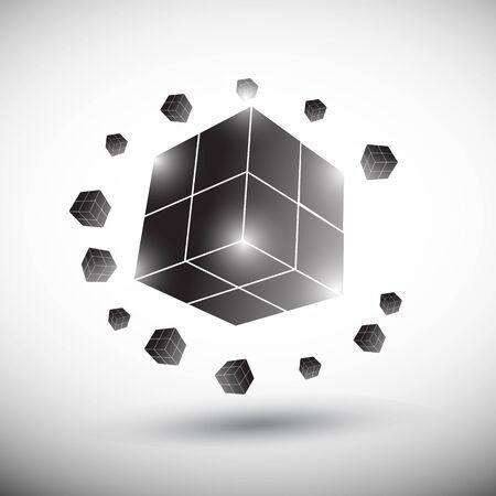 futuristic cube logo Vector