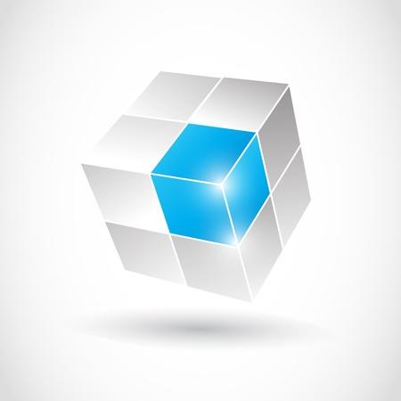 3D Cube Negocios Ilustración de vector