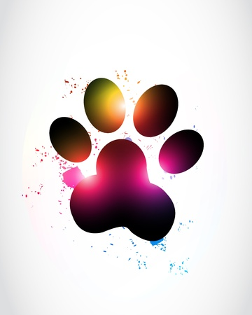 rainbow print: Abstract Glowing Paw Print