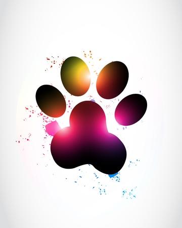 patas de perros: Paw Print Resumen Glowing Vectores