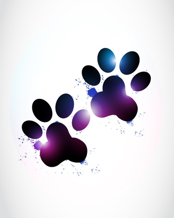 hunting dog: abstract bright paw prints
