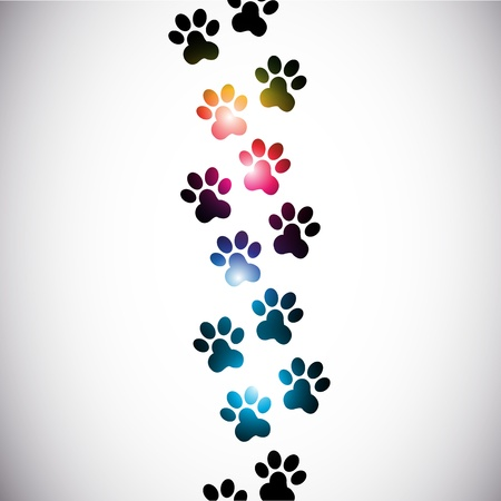 dog paw: abstract colorful paw prints