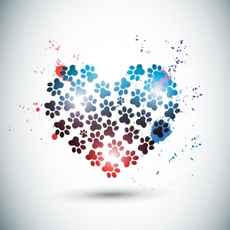 abstract bright love paws Vector