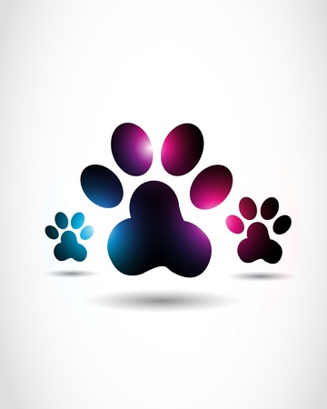 abstract shiny paw prints Vector