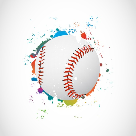 hardball: Abstract Colorful Grunge Baseball Ball