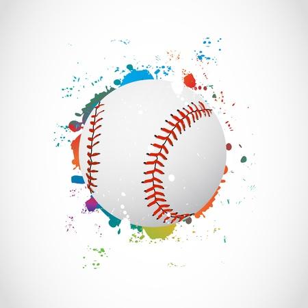 Abstracte Kleurrijke Grunge Bal van het honkbal Vector Illustratie