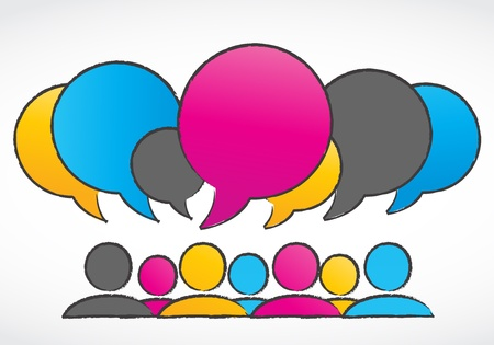 debate: group discussions speech bubbles Illustration
