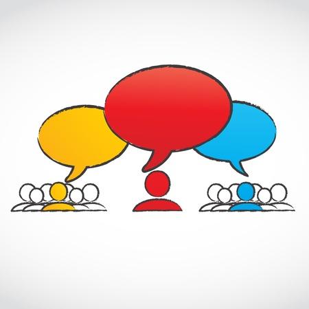 converse: Gespr�chsgruppen mit Sprechblasen Illustration