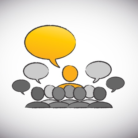 forum speaker with speech bubbles Vector