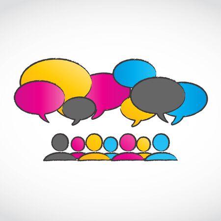 conversing: Abstract Colorful Conversation Speech Bubbles